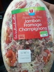 Pizza jambon, champignons, fromage U, 180g