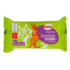 Cora lingettes bebe sensitives recharge x 64