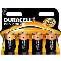 Duracell, Piles alcaline Plus Power LR20, le lot de 4 piles