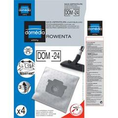 Sacs aspirateurs DOM-24 compatibles Rowenta, le lot de 4 sacs synthetiques resistants