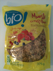 Muesli croustillant ,bio, fruits rouges, 375g