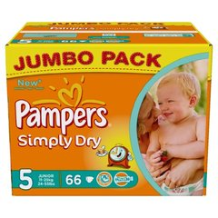 Couches Pampers Simply Dry T5 x66 Jumbo