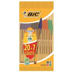 Bic, Stylos bille bic cristal pointe fine - coloris assortis, le lot de 20