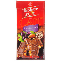 Chocolat Tablette d'Or Raisins secs noisettes 200g