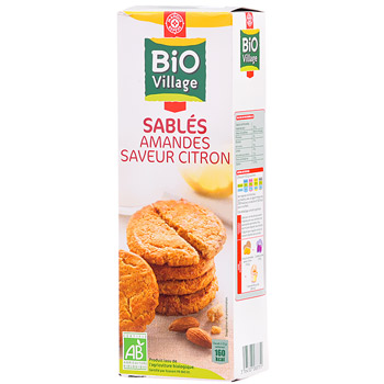 Biscuits sables Bio Village Amandes saveur citron 200g